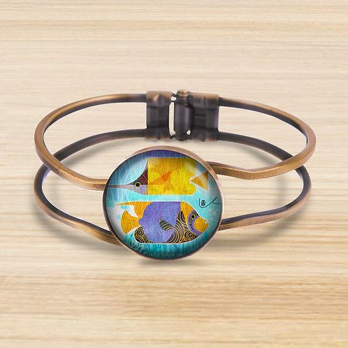 'Crazy Fish' Bezel Hinge Bracelet