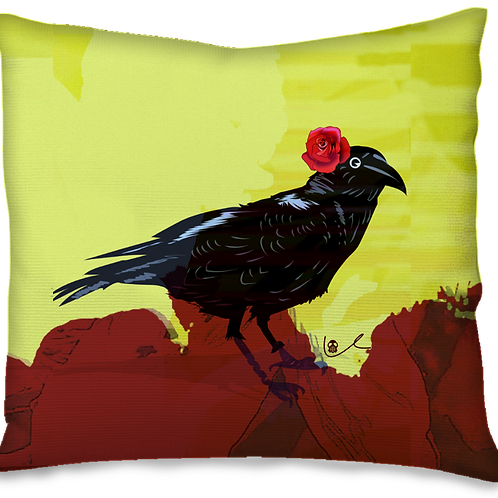 'Corvid with Rose' Pillow