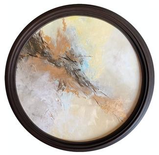 Round abstract artwork framed in Mahagony