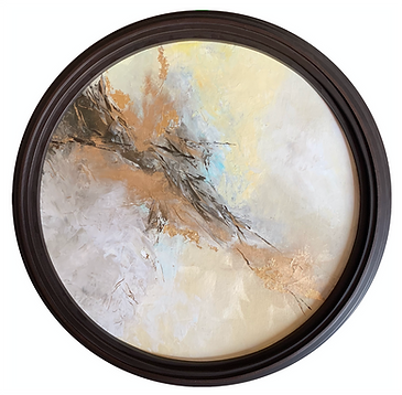 Round abstract artwork framed in Mahagony