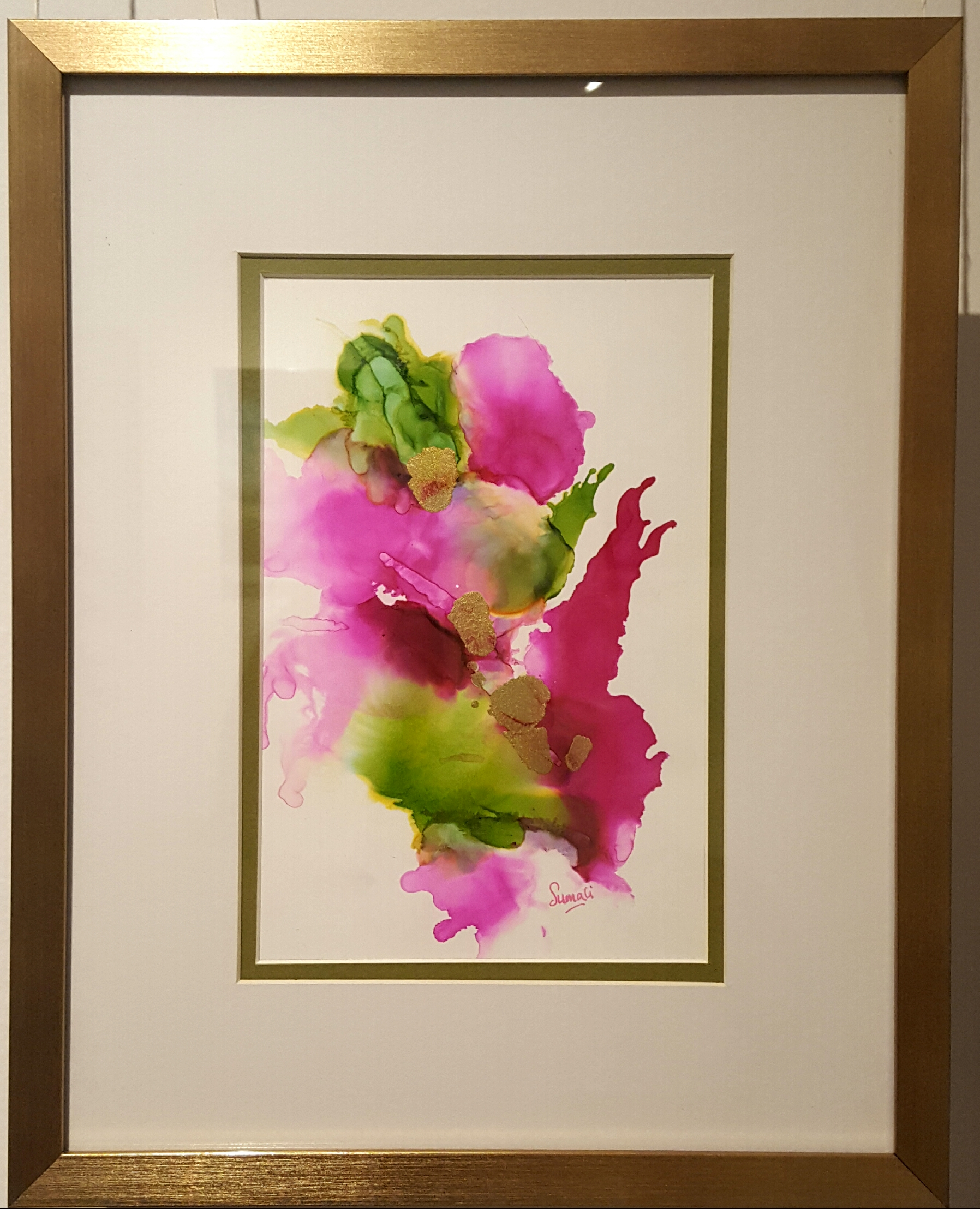 Alcohol Ink - Pink floral