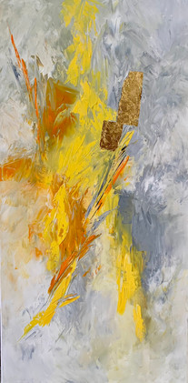 Abstract artwork with gold leaf