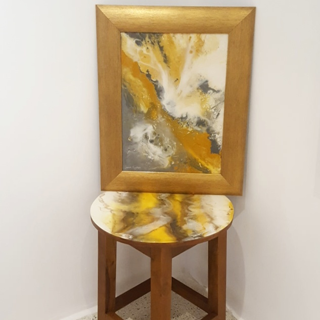 Resin Abstract art and Stool on Teak