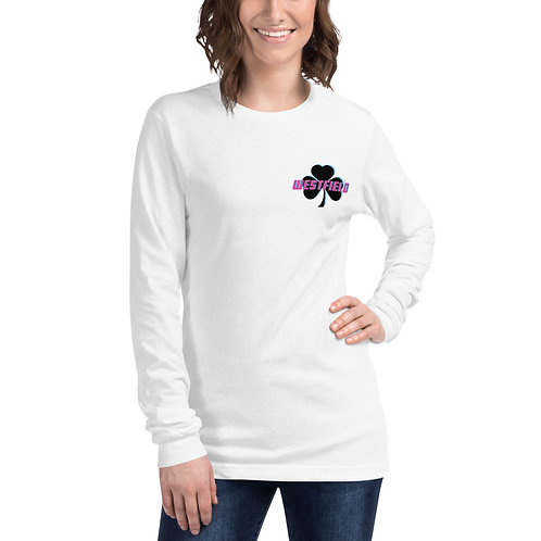 Pink/Blue Shamrock Women's Long Sleeve T-shirt