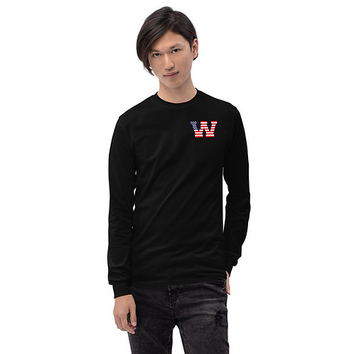 Men's Red, White, and Blue Long Sleeve Shirt