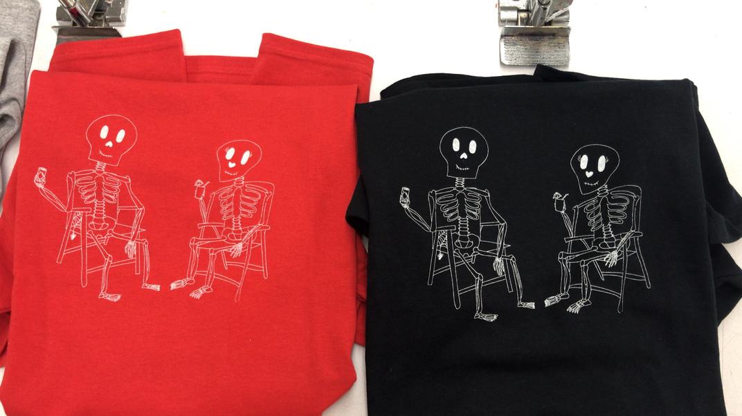 Skeleton Tees Red and Black