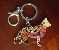 artistic tan german shepherd keychain