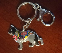 artistic black german shepherd keychain.