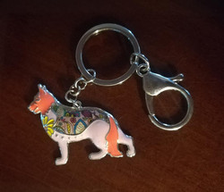 artistic pink peach german shepherd keyc