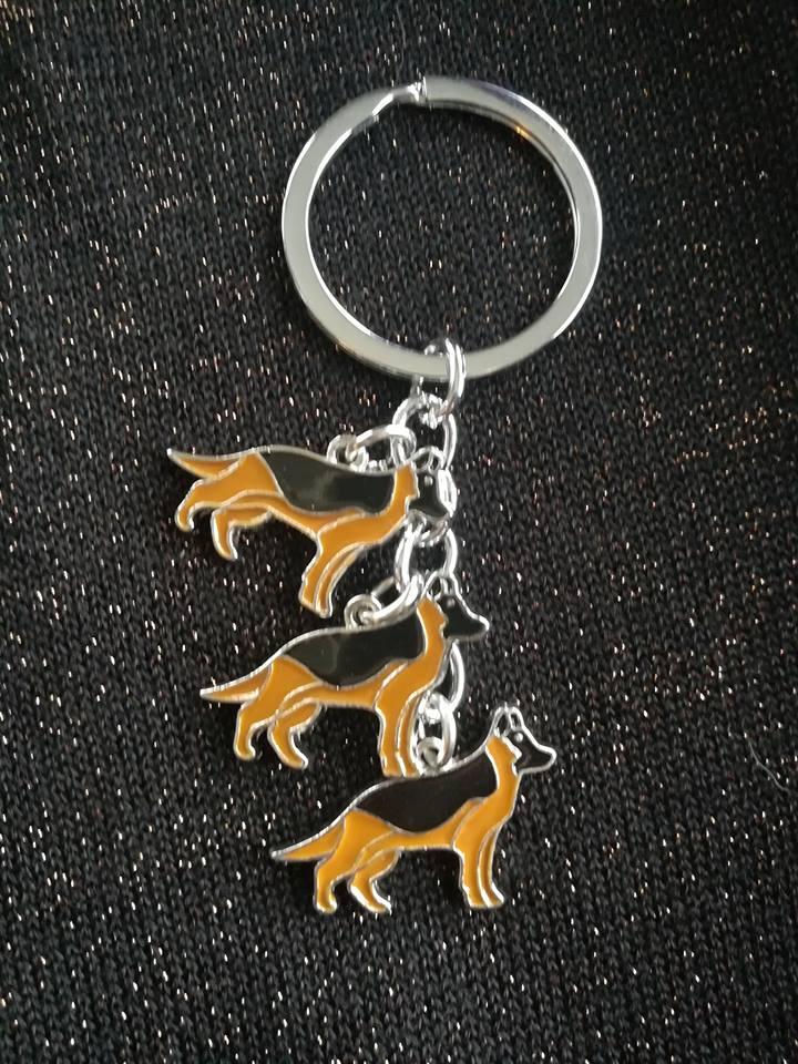 3 german shepherd keychain