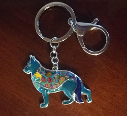artistic blues german shepherd keychain.
