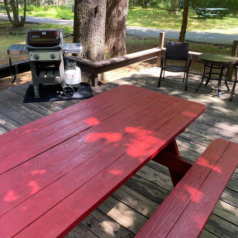 Bear Claw Cabin Deck with Picnic Table, Seating Area, and Weber Propane Grill