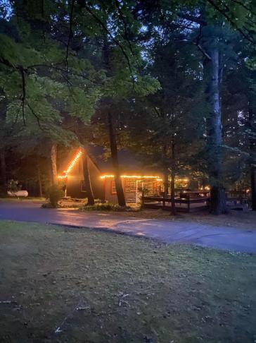 Bear Claw Cabin at Night
