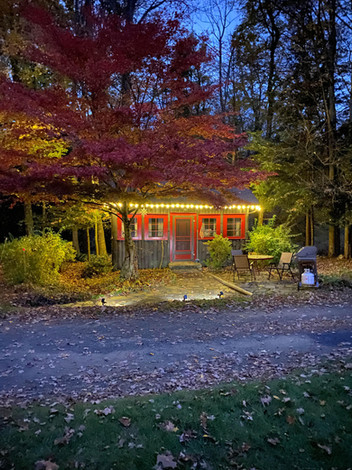 The Stargazer at night in the fall