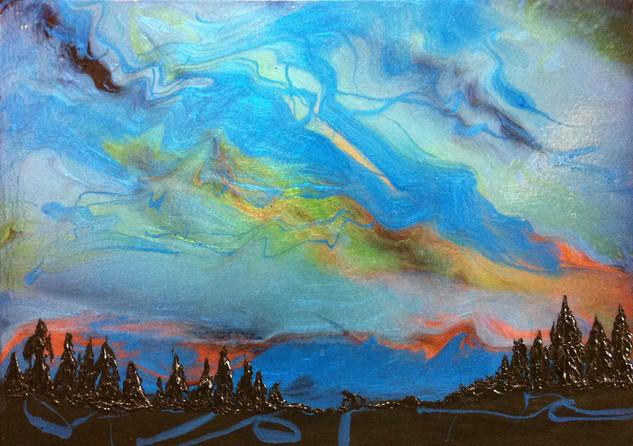 "Aurora Borealis | 16"" x 20"" | Acrylic | SOLD"