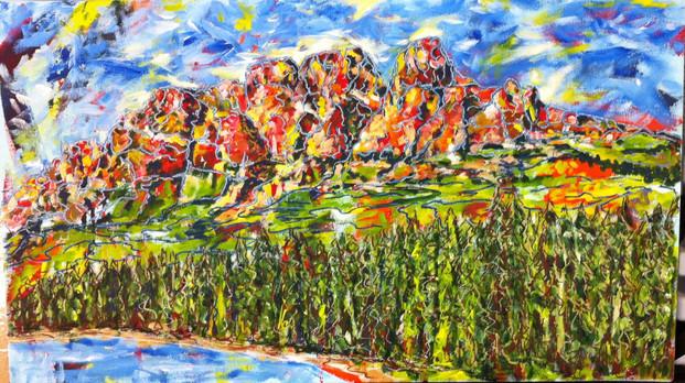 "Castle Mountain | 16"" x 28"" | Acrylic | SOLD"