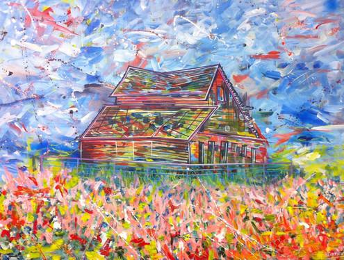 "Barn at Rd. 22 - Osoyoos | 36"" x 48"" | Acrylic | SOLD"