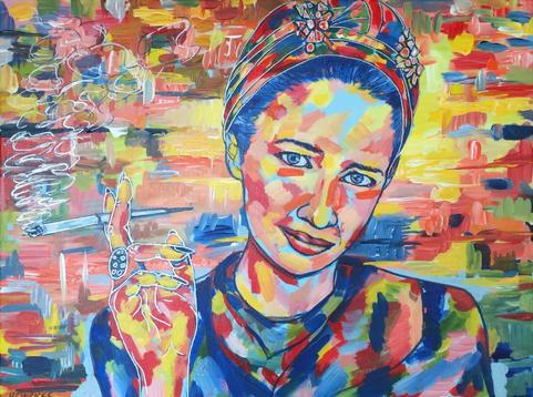 """Diana Vreeland   Acrylic   18"""" x 24""""   $1200"""