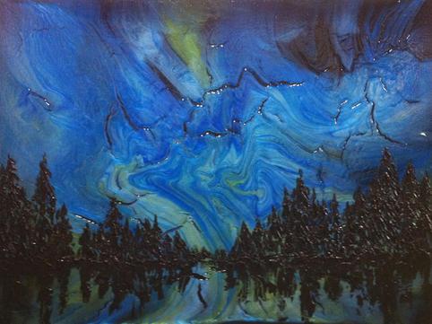 "Aurora Borealis - Blue   Acrylic   30"" x 40""   $2600"