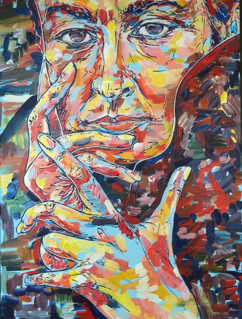 "Gorgia O'Keffe   Acrylic   18"" x 24""   $1200"