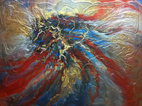"Lava - Red | Acrylic | 36"" x 48"" | $3400"
