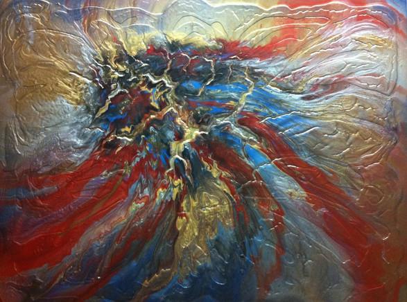 "Lava Series | Acrylic on Canvas | 36"" x 48"" | $3400"
