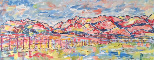 "Old Banff Coach Road | 16"" x 42"" | Acrylic | SOLD"