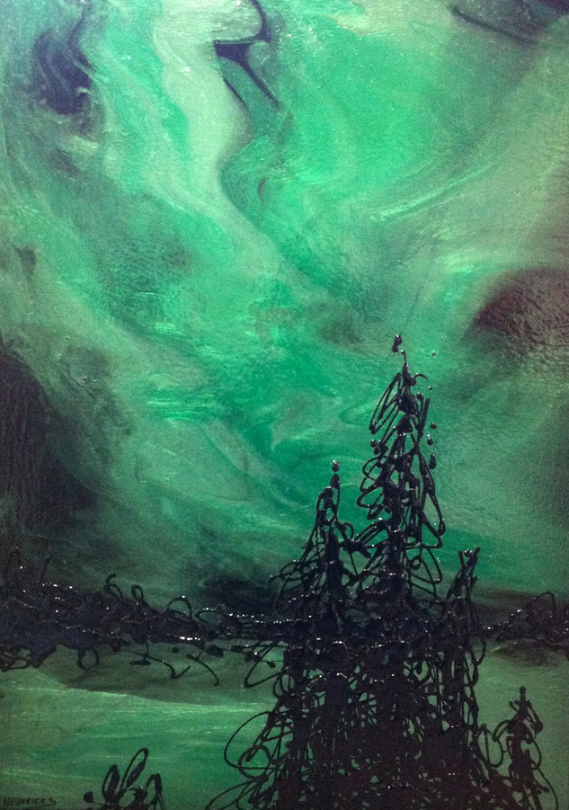 "Aurora Borealis | 18"" x 36"" | Acrylic | SOLD"