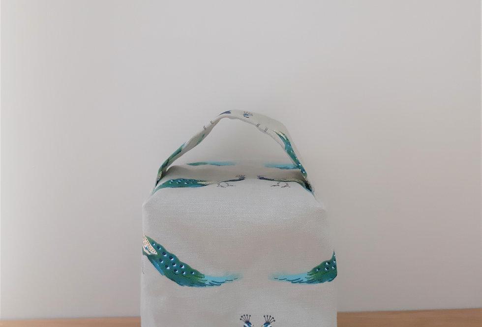 Peacocks Doorstop, Handmade in Sophie Allport Fabric
