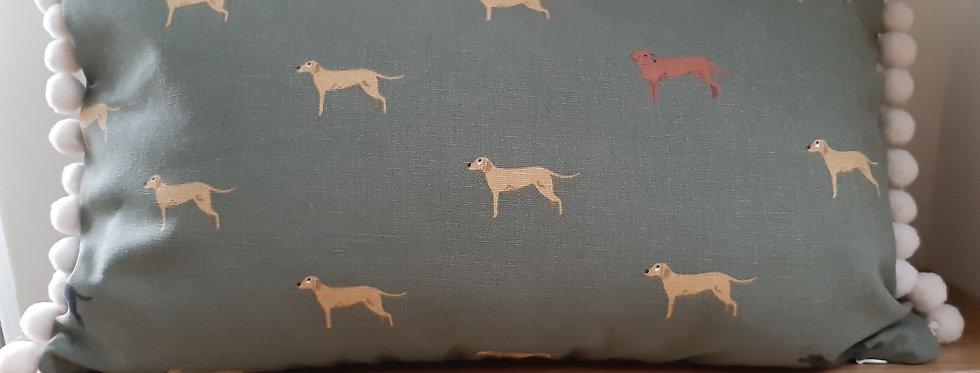Fab Labs (Dog) Pom Pom Cushion, Handmade in Sophie Allport Fabric