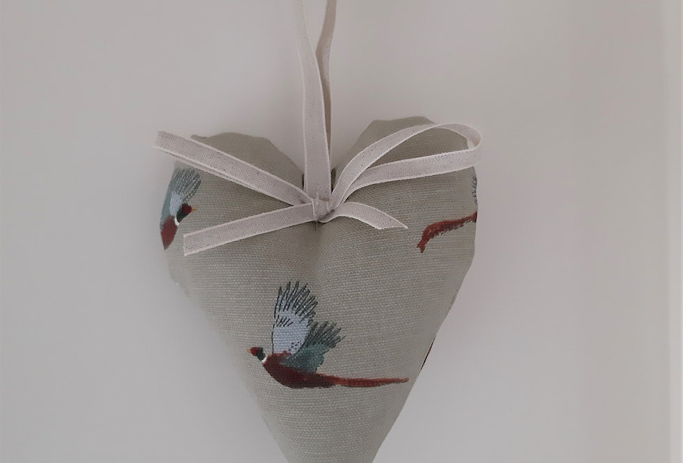 Pheasant Hanging Heart, Handmade in Sophie Allport Fabric