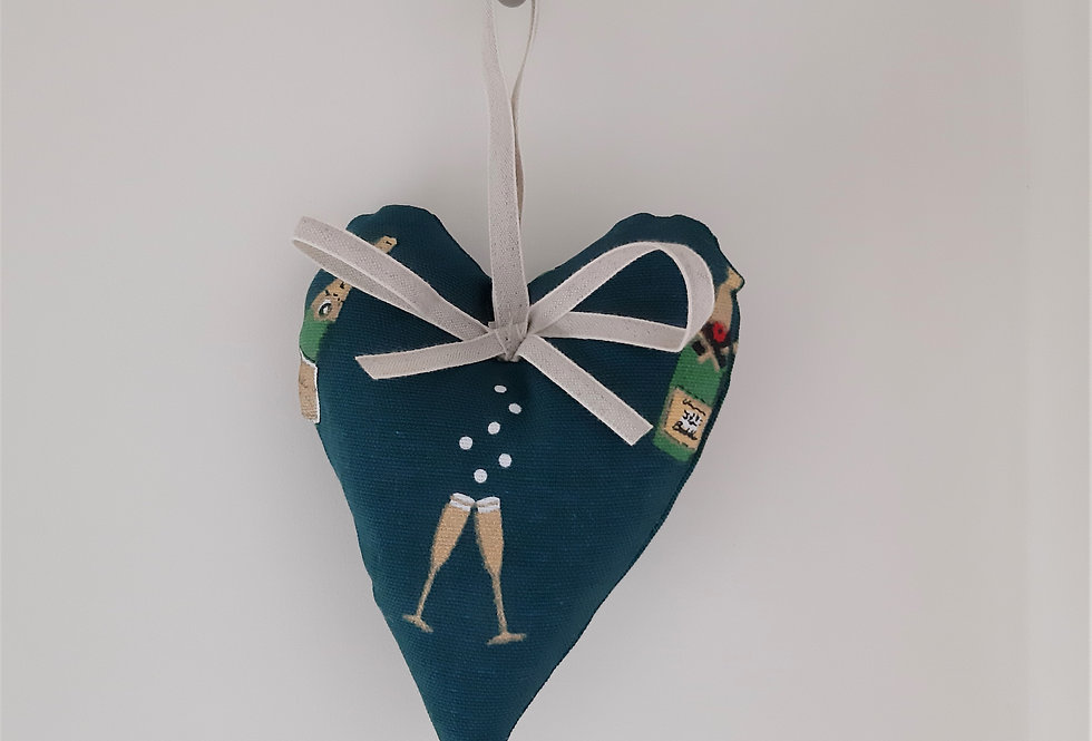 Bubbles & Fizz Hanging Heart, Handmade in Sophie Allport Fabric