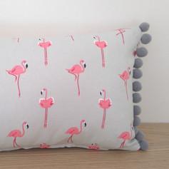 Flamingo Cushion with pom pom trim