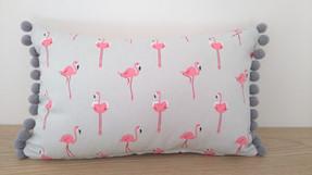 Sophie Allport Flamingo cushion with pom poms
