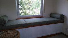 Abraham Moon window seat cushions with matching bolster cushions