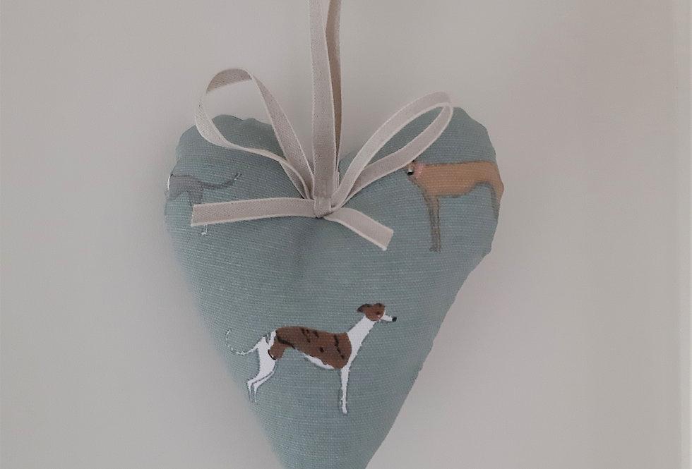 Speedy Dogs Hanging Heart, Handmade in Sophie Allport Fabric