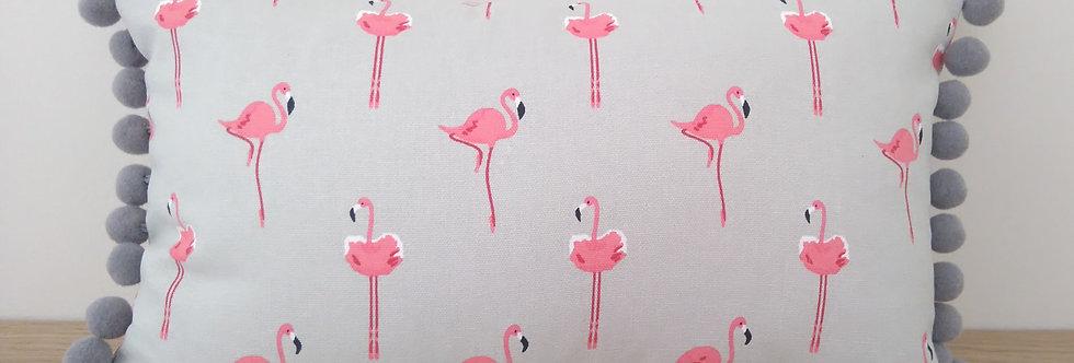 "Flamingo 20"" x 12"" Pom Pom Cushion, Handmade in Sophie Allport Fabric"