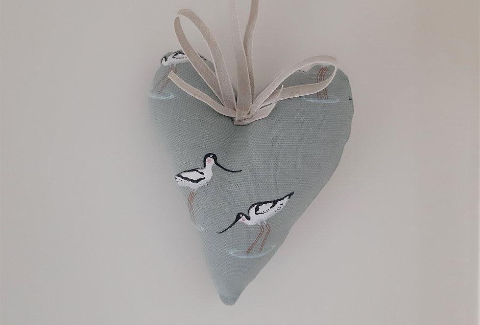 Coastal Birds Hanging Heart, Handmade in Sophie Allport Fabric
