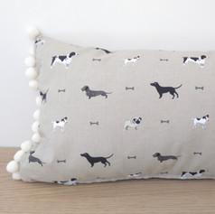 Dog Cushion with pom pom trim