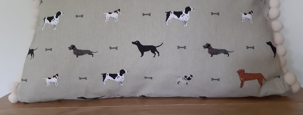Woof (Dog) Pom Pom Cushion, Handmade in Sophie Allport Fabric
