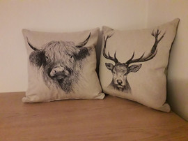 Cushions - highland stag and cattle