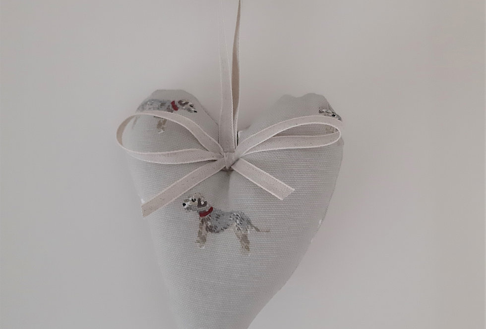 Terrier Hanging Heart, Handmade in Sophie Allport Fabric