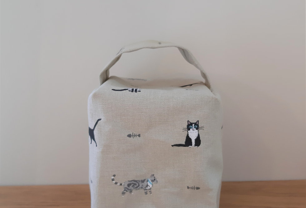 Purrfect Cat Doorstop, Handmade in Sophie Allport Fabric