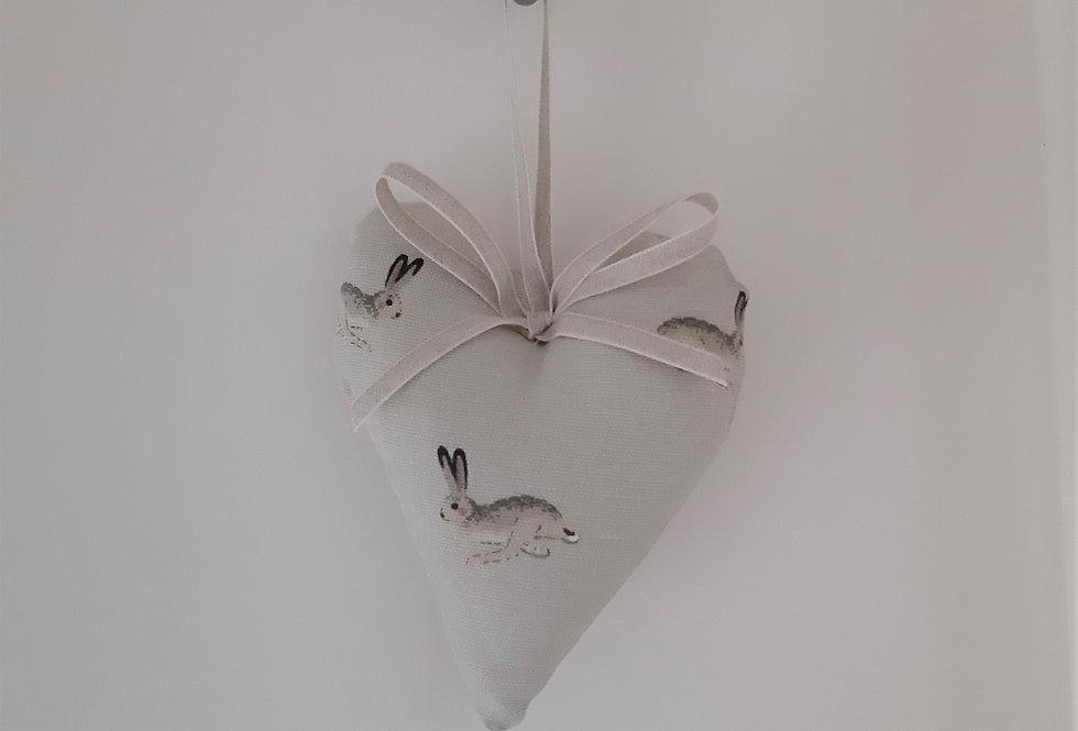 Hare Hanging Heart, Handmade in Sophie Allport Fabric