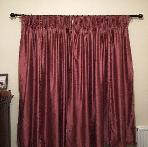 Pink Silk Pencil Pleat Curtains