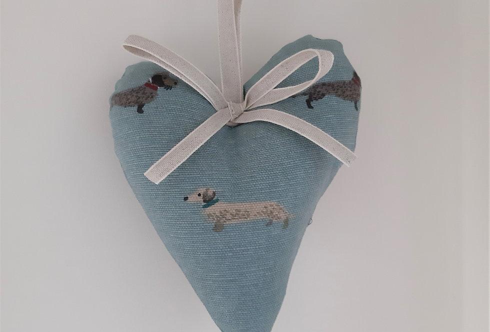 Dachshund Hanging Heart, Handmade in Sophie Allport Fabric