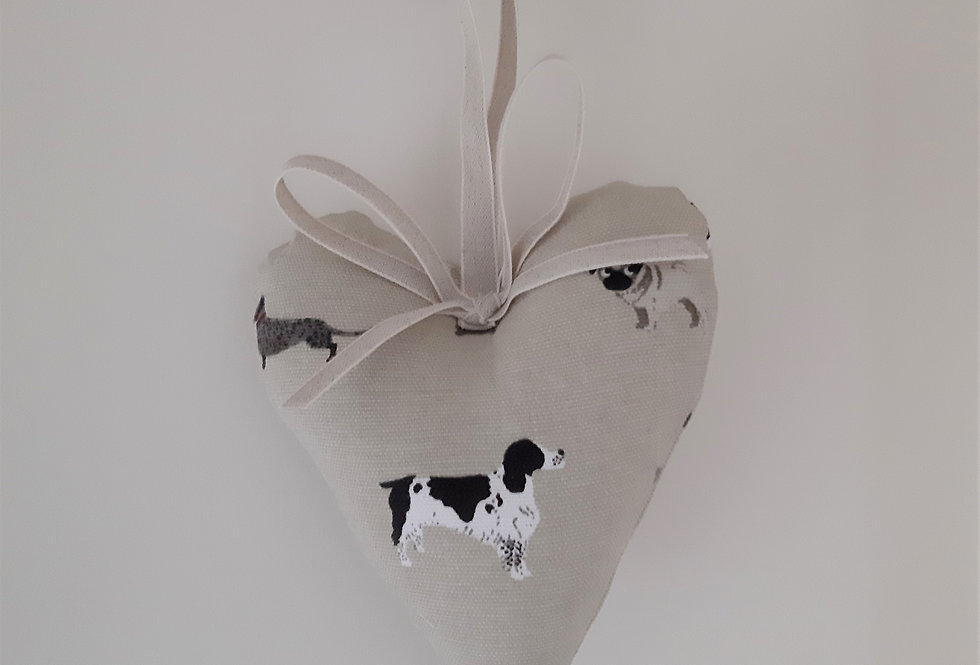 Woof (Dog) Hanging Heart, Handmade in Sophie Allport Fabric