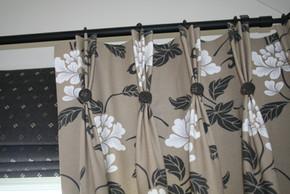 Triple pleat curtais with co ordinating roman blind