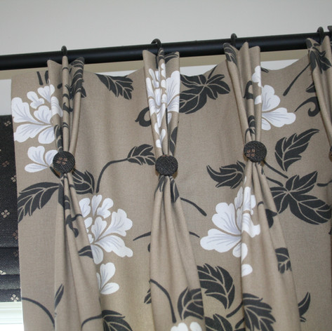 Beige Flower Triple Pleat Curtains