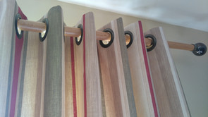 Eyelet curtains with 50mm eyelets on a chunky pole